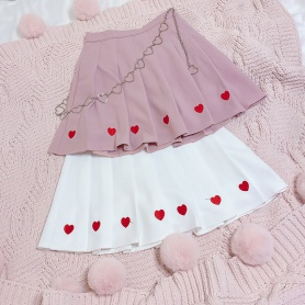 Sweet Full  Hearts Embroidery Pleated Skirt