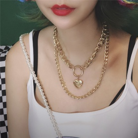 Openable Heart Pendant Double Layered Chain Necklace Gold Color