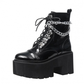 Patent Leather Wrap Around Chains Platform Boots