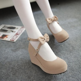 Sweet Bow Wedge Shoes