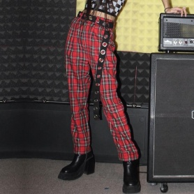 Gothic Grunge Red Plaid Pants