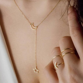 Gold Star and Moon Necklace