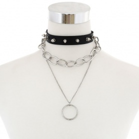 Gothic Spikes Chains O-Ring Multilayer Choker Necklace