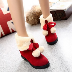 Lace-up Front Sweet Fleece Warming Boots