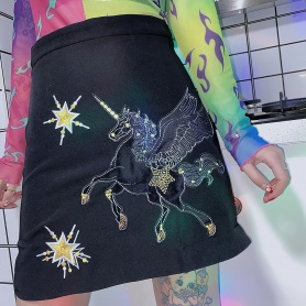 Embroidered Unicorn A Line Skirt