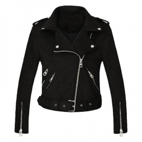 Faux Suede Leather Motorcycle Jacket