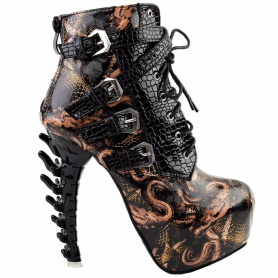 Gothic Snake Pattern Bone Heel Ankle Boots