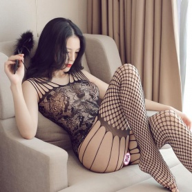 Fishnet Strings and Lace Full Bodysuit Bodystocking
