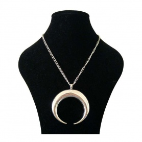 Gothic Wiccan Large Horn Crescent Moon Pendant Long Chain Necklace